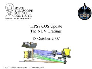 TIPS / COS Update The NUV Gratings 18 October 2007