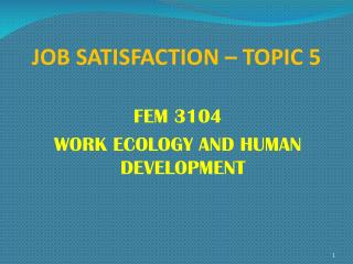 JOB SATISFACTION – TOPIC 5