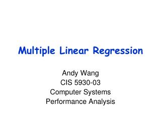 Multiple Linear Regression