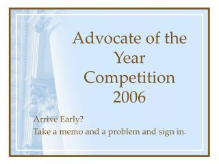 Advocate of the Year Competition 2006