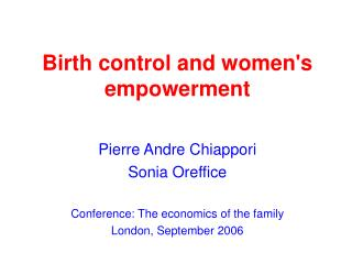 Birth control and women's empowerment