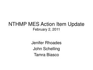 NTHMP MES Action Item Update February 2, 2011