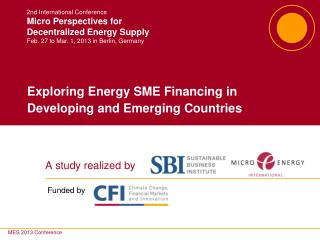 Exploring Energy SME Financing in Developing and Emerging Countries