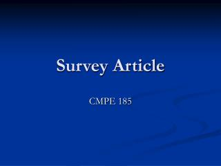 Survey Article