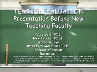 TEACHER EVALUATION Presentation Before New Teaching Faculty