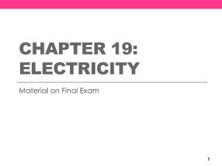 Chapter 17- Introduction to Electricity