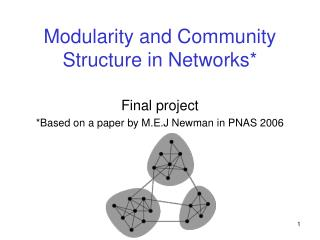 Modularity and Community Structure in Networks*