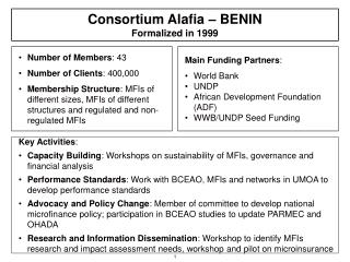 Consortium Alafia – BENIN Formalized in 1999