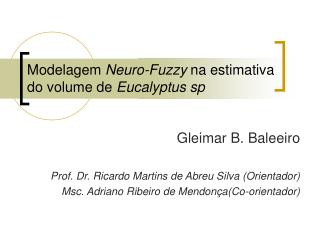 Modelagem  Neuro-Fuzzy  na estimativa do volume de  Eucalyptus sp