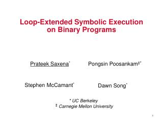 Loop-Extended Symbolic Execution on Binary Programs