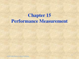 Chapter 15 Performance Measurement