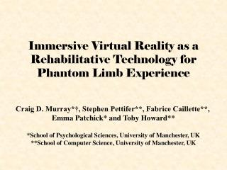 Immersive Virtual Reality as a Rehabilitative Technology for Phantom Limb Experience