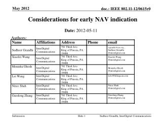 Considerations  for early NAV indication