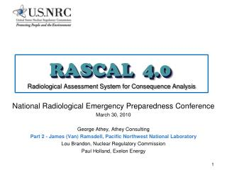 RASCAL  4.0 Radiological Assessment System for Consequence Analysis