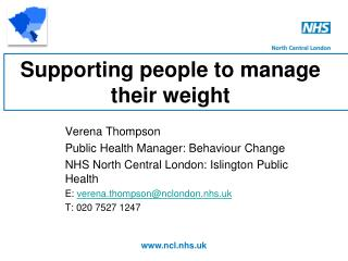 Supporting people to manage their weight