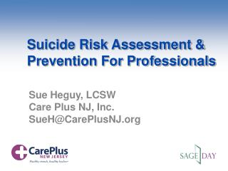 Suicide Risk Assessment & Prevention For Professionals