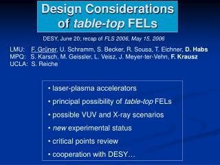 Design Considerations of  table-top  FELs