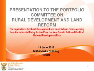 13 June 2012 M514 Marks Building 10h00