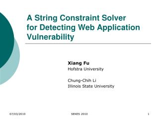 A String Constraint Solver  for Detecting Web Application Vulnerability
