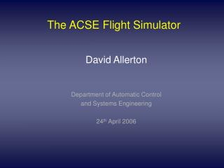 The ACSE Flight Simulator