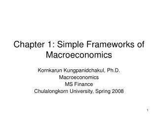 Chapter 1: Simple Frameworks of Macroeconomics