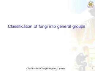 Classification of fungi into general groups