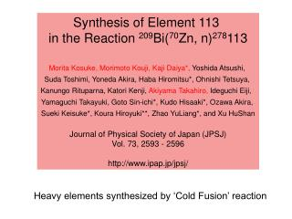Synthesis of Element 113 in the Reaction 209 Bi( 70 Zn, n) 278 113