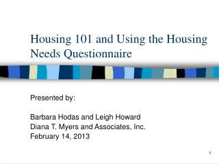 Housing 101 and Using the Housing Needs Questionnaire