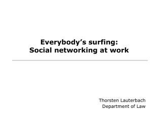 Everybody's surfing: Social networking at work