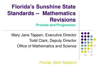 Florida's Sunshine State Standards --  Mathematics Revisions Process and Progression
