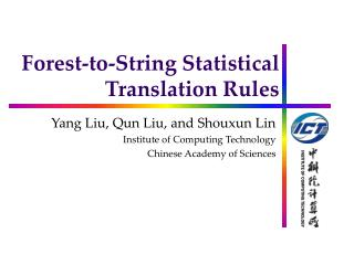 Forest-to-String Statistical Translation Rules