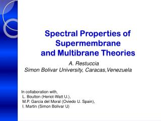 Spectral Properties of   Supermembrane and  Multibrane  Theories