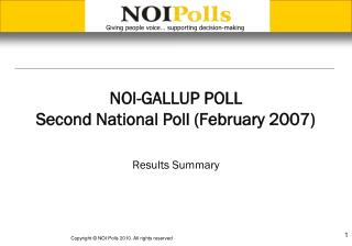 NOI-GALLUP POLL Second National Poll (February 2007)