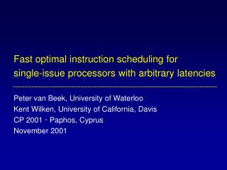 Local instruction scheduling
