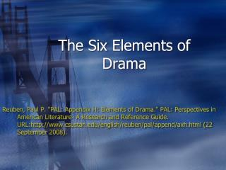 The Six Elements of Drama