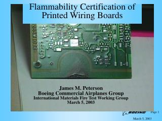 Flammability Certification of  Printed Wiring Boards