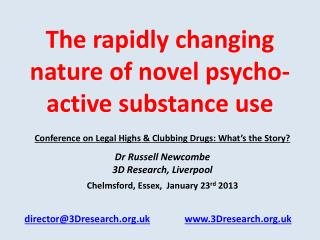 The rapidly changing nature of novel psycho-active substance use