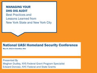 National UASI Homeland Security Conference May 24, 2012 in Columbus, Ohio