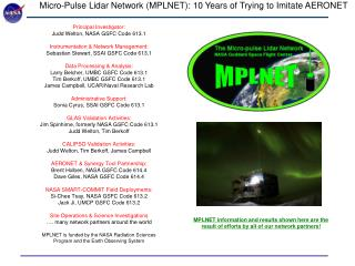 Micro-Pulse Lidar Network (MPLNET): 10 Years of Trying to Imitate AERONET