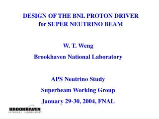 DESIGN OF THE BNL PROTON DRIVER for SUPER NEUTRINO BEAM