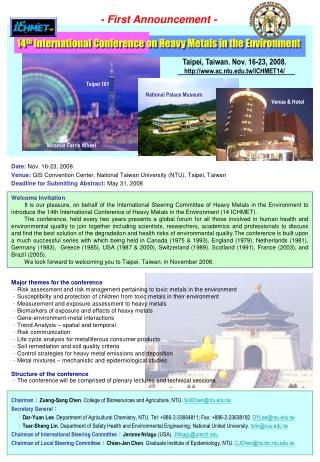 14 th  International Conference on Heavy Metals in the Environment