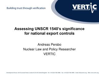 Assessing UNSCR 1540's significance for national export controls