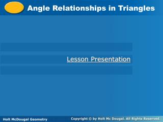 Angle Relationships in Triangles
