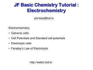 JF Basic Chemistry Tutorial : Electrochemistry