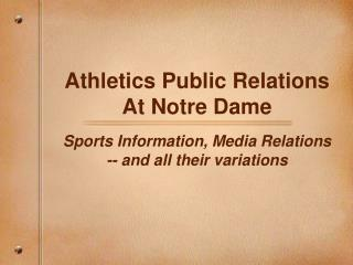 Athletics Public Relations At Notre Dame