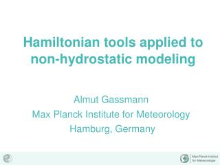 Hamiltonian tools applied to non-hydrostatic modeling