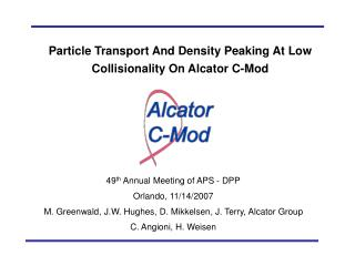 Particle Transport And Density Peaking At Low Collisionality On Alcator C-Mod