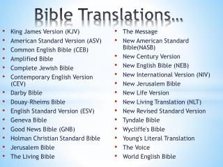 Bible Translations…