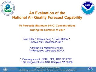 An Evaluation of the National Air Quality Forecast Capability