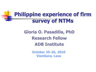 Philippine experience of firm survey of NTMs